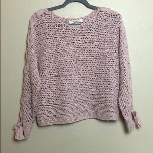 Blush Knit Sweater with Lace Up Sleeve Detail Sz:M